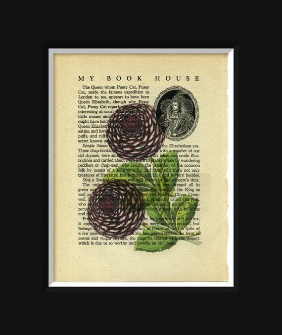 Dahlia Floral Print on Antique Book Page