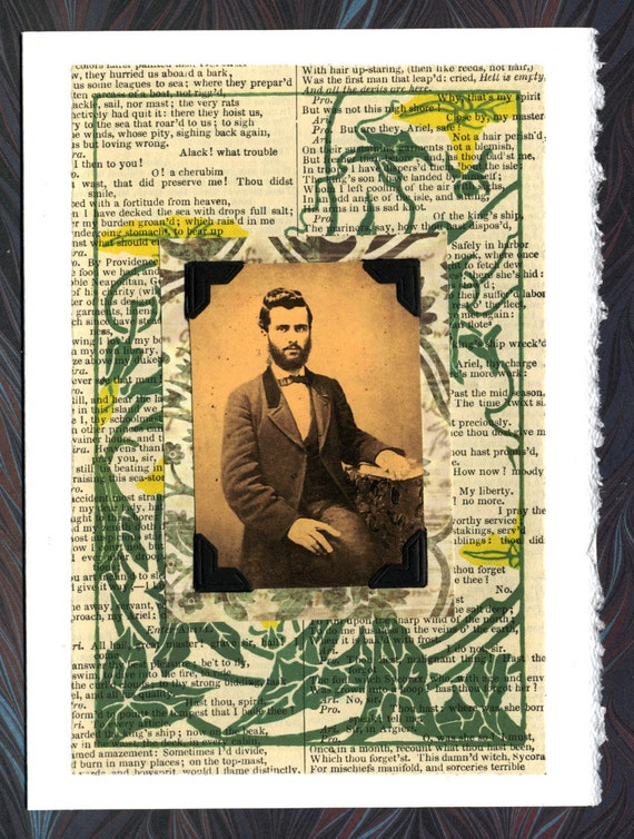 Victorian Man Shakepeare Collage Greeting Card