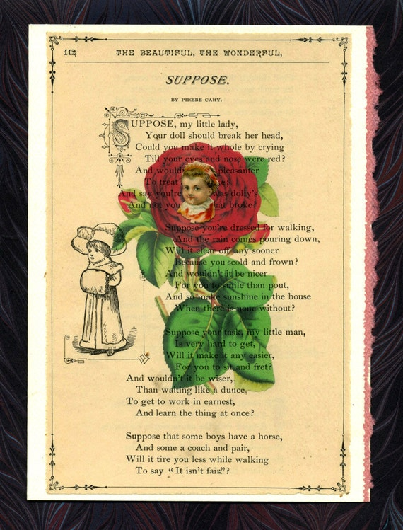 Suppose Your Doll Should Break .. Victorian Poetry Greeting Card