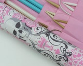 reserved for megan - large knitting needle case - knitting needle organizer - skulls and roses in pink and gray - 36 pockets