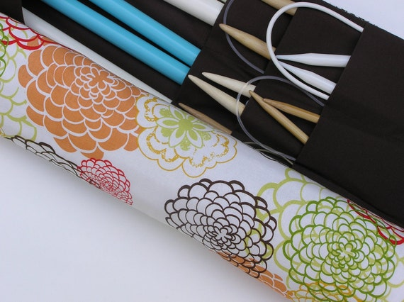 Custom For Julie - large knitting needle case - knitting needle organizer  - fresh fusion - cream floral explosion - 36 pockets