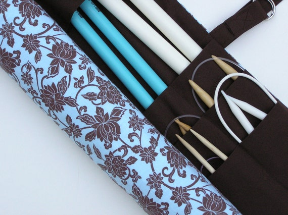 large knitting needle case - romantic chocolate floral on blue - 36 pockets