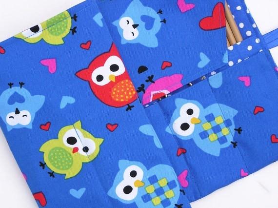 circular knitting needle case - double pointed knitting needle case - organizer -colorful owls on blue