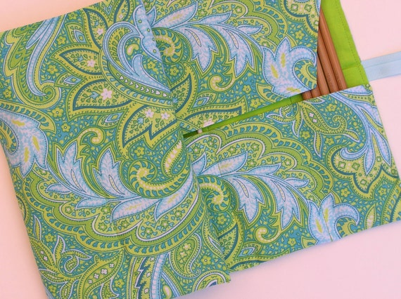 circular knitting needle case - double pointed knitting needle case - organizer -paisley in greens, blues and yellow