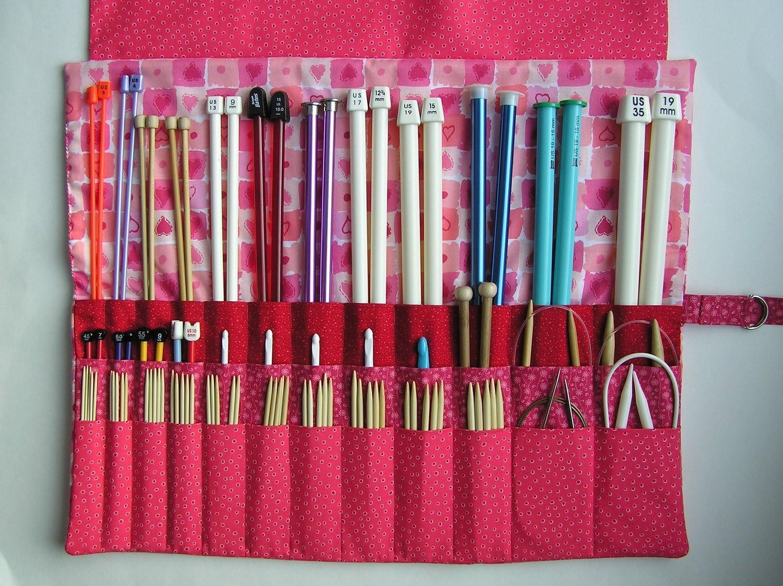 Knitting Needle Storage : Large knitting needle case organizer