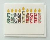 Happy Hanukkah Origami Candles - papercut collage card