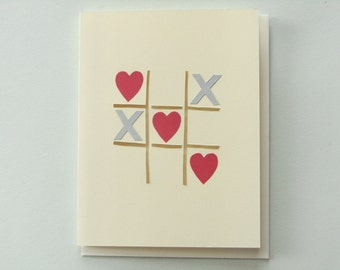 Love Wins at Tic Tac Toe - papercut collage card