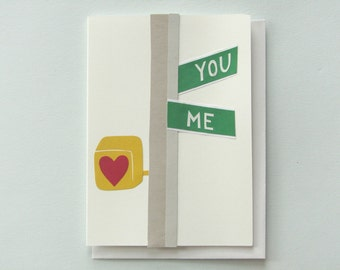 Crossroads of Love - papercut collage card