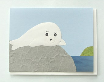 Baby Nerpa Sea - papercut collage Card