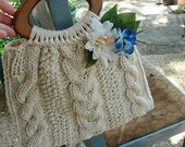 Purse Hand Knitted Cotton Bag or Purse, Lined, Pockets, Embellished, Off white, Wooden Handles
