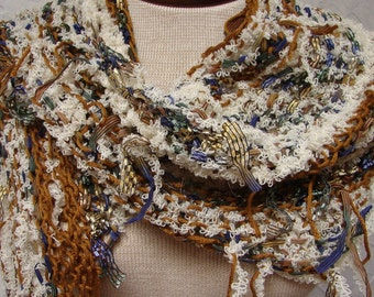 Gold, Off white, Ribbons Shawl, Scarf