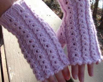 Pink Lace Fingerless Gloves Wristwarmers