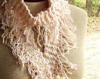 Scarf, Pink, White Cotton Scarf With Fringe