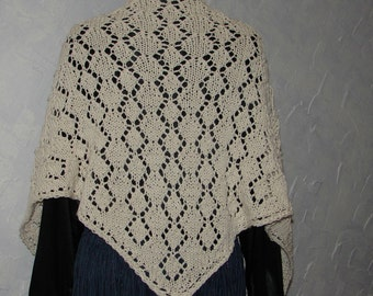 Pattern for Hand Knit Diamond Lace Shawl Triangle Knit Shawl Patterns