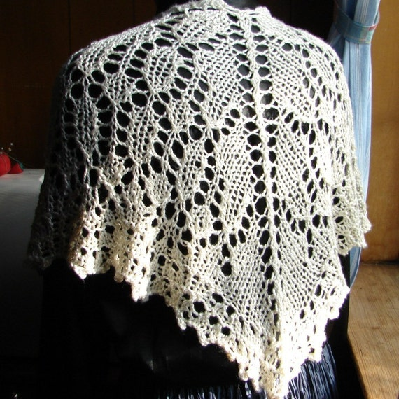 Pattern Shawl or Shawlette Pattern, Hand knit lace shawl pattern worked from top down Pattern