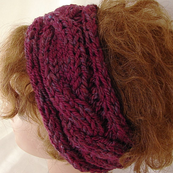 Twisted Headband Knit Pattern : Pattern Hand Knit Cable Headband Twisted by TerrificCreations