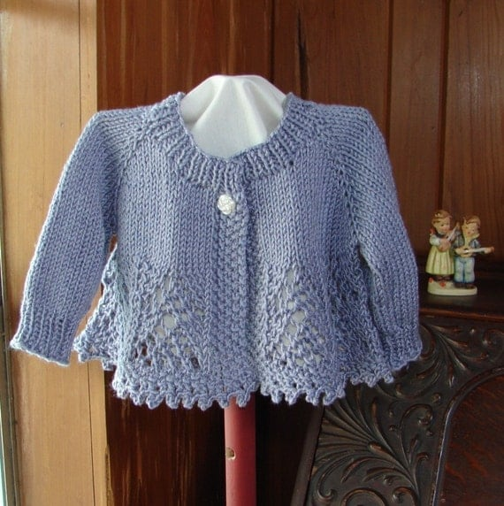 Baby Girl Sweater Patterns Knitting : Pattern Hand Knit Lace Baby Girl Sweater Top Down Lace Knit