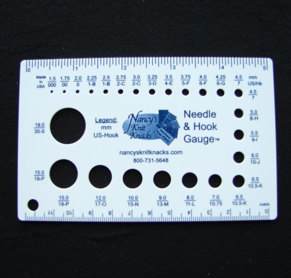 Knitting Gauge Ruler : Knitting needle gauge and ruler