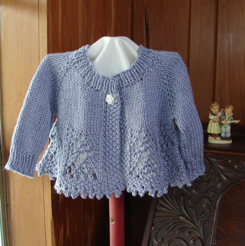 Hand Knitting Patterns For Babies : Pattern Hand Knit Lace Baby Girl Sweater Top Down Lace Knit
