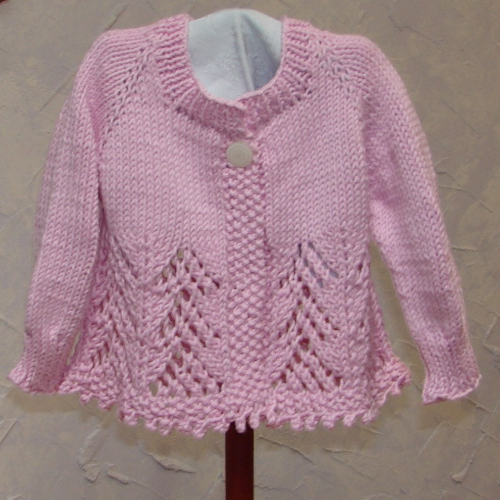 Pattern Hand Knit Lace Baby Girl Sweater Top Down Lace Knit