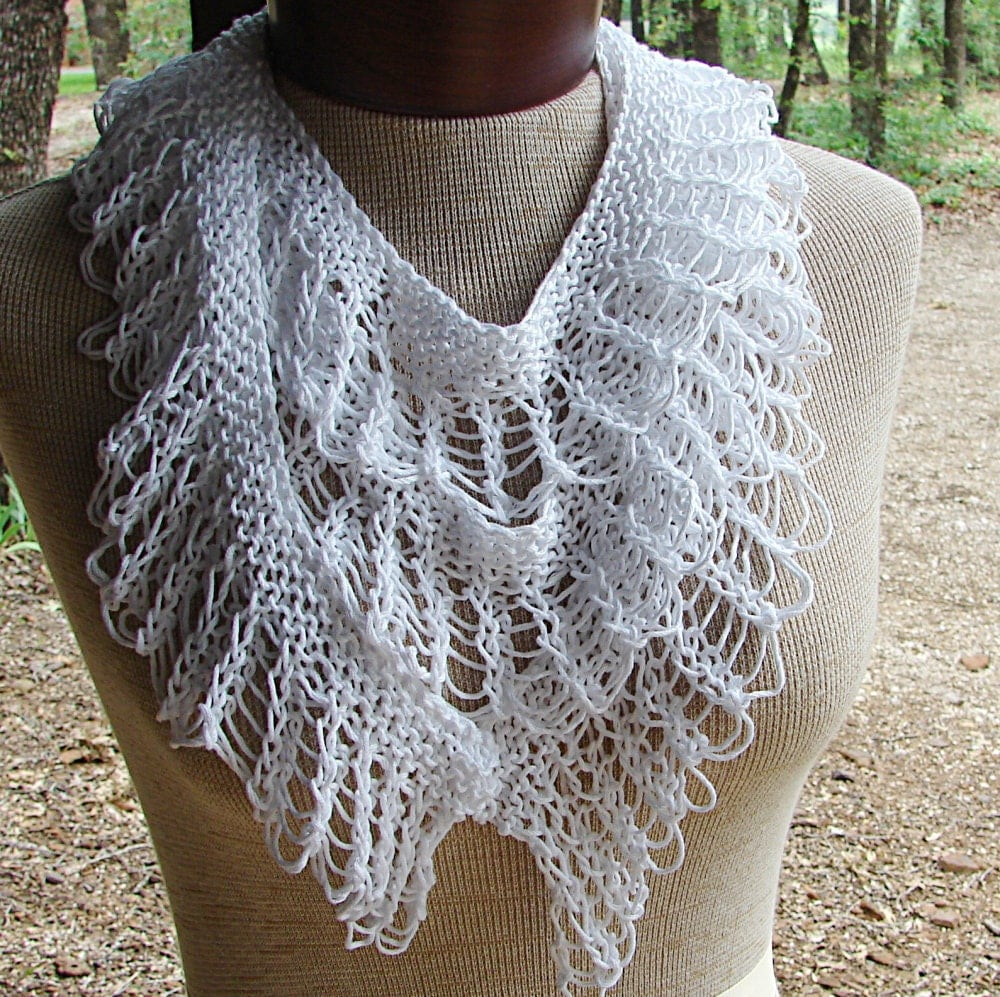 Ruffle Scarf Knitting Pattern : Pattern For Hand Knit Lace Ruffle Scarf by TerrificCreations