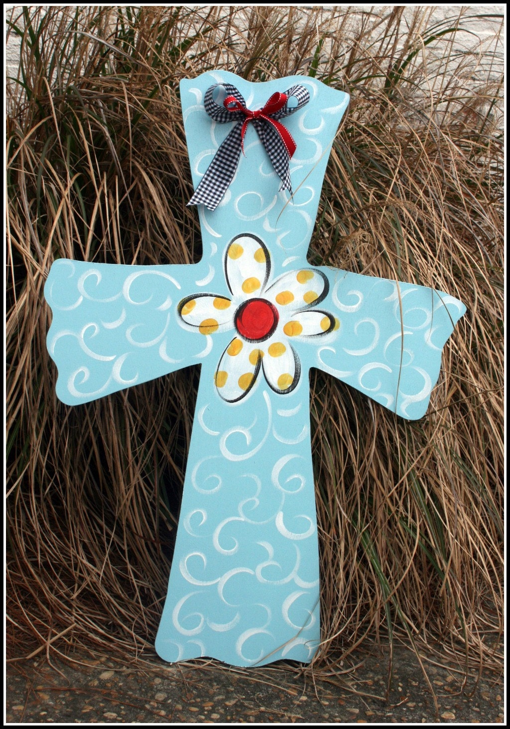 Large Wooden Cross Door Hanger Decor Art Hand By Ladeedahart