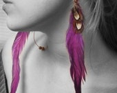 Purple Rising Rooster Earrings