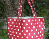 PRETTY CHILL DESIGNS RED POLKA DOT OILCLOTH COUNTRY SHOPPER TOTE OR DIAPER BAG