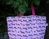 PINK DACHSHUND CANVAS LARGE BEACH BAG TOTE CARRY ALL
