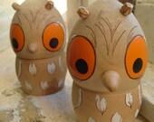 Vintage Handpainted Wooden Woodland Owl Creatures