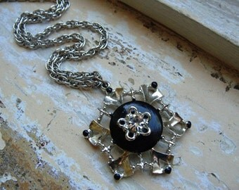 FREE SHIPPING Vintage Black and Silvertone Metal Pendant with Rhinestone Accent and Chain Necklace