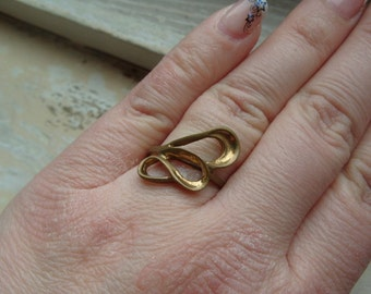 FREE SHIPPING Vintage Industrial Brass Ring Size 9 1/2