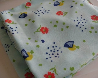 Funky Retro Vintage Fabric - Baby Blue with Modern Floral Design - 2 yds