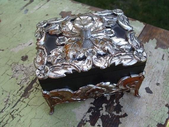 Vintage Black and Silvertone Ornate Plastic Covered Trinket Box