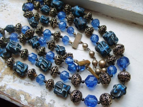 FREE SHIPPING Vintage Blue Plastic Beaded Multi Strand Necklace