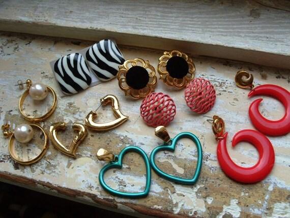 FREE SHIPPING Vintage Earring Lot - 1980's Pierced Earrings 7 pairs