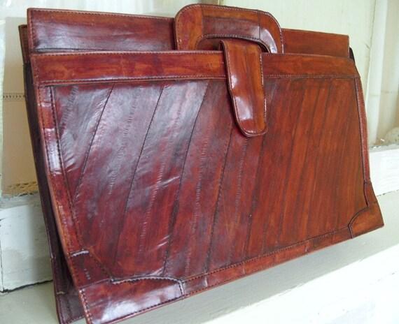 Vintage Eel Skin Briefcase Burgundy Color