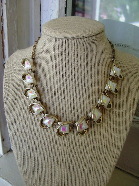 FREE SHIPPING Vintage Necklace with Iridescent Square Accents