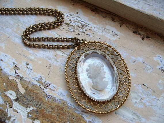 FREE SHIPPING Whiting and Davis Glass Cameo Necklace
