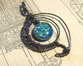 Simply Mine, Fused Dichroic Wire Wrapped Pendant, reserved listing for jadestarII