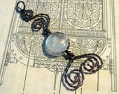 Simply Mine, Fused dichroic and copper scrollwork pendant, Reserved for jadestarII