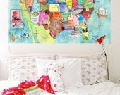 USA Map for children 30 x 42 inch HUGE watercolor art nursery poster by Marley Ungaro