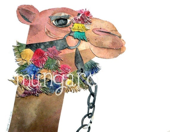 Carmine Camel watercolor cuttings art nursery print OR hand towel by Marley and Grey Ungaro