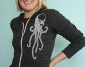 Womens Zip Hoodie - Skullopus Hooded Sweatshirt - Cthulu Skull Octopus Jacket