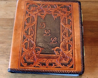 Hand Tooled Leather 3-Ring Binder (8.5 x 11 inch paper)  / Notebook CONVO ME before purchasing