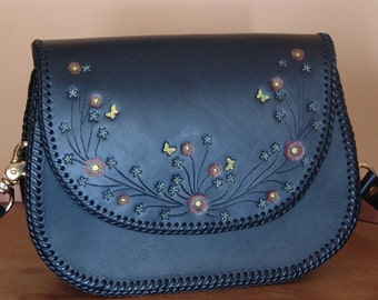 Black Leather Purse with Flowers and Butterflies