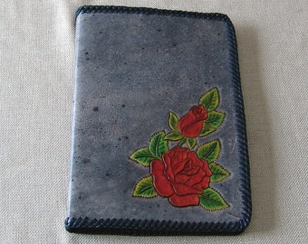 Hand Tooled Leather Notebook - Red Roses
