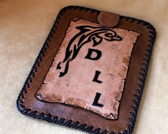 Hand Tooled Leather E-Reader (Nook, Kindle) Case also available for I-Pad