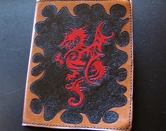 Leather Composition Book Cover - Red Dragon - Custom Order