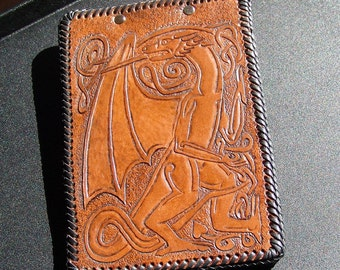 Hand Tooled Dark Brown Leather Clip Board with Celtic Dragon - CUSTOM ORDER ONLY